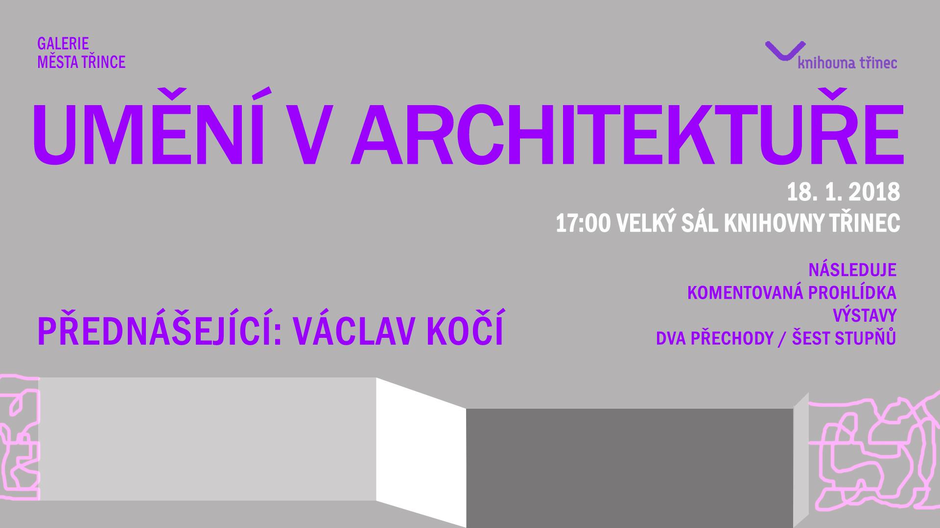 """Přednáška: Umění v architektuře + Komentovaná prohlídka výstavy """"Dva přechody / šest stupňů"""""""
